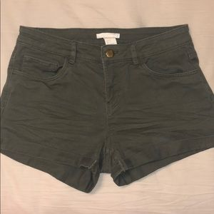 Stretchy army green jean shorts